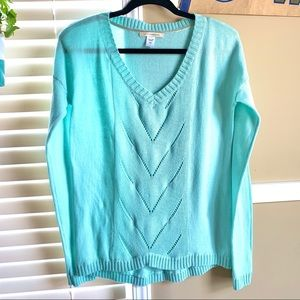 Canyon River Baby Blue V-neck Lightweight Sweater